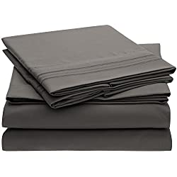 Harmony Sweet Sheets Bed Sheet Set - 1800 Double Brushed Microfiber Bedding - Deep Pocket, Hypoallergenic - Wrinkle, Fade, Stain Resistant Sheets - 4 Piece (Queen, Gray)