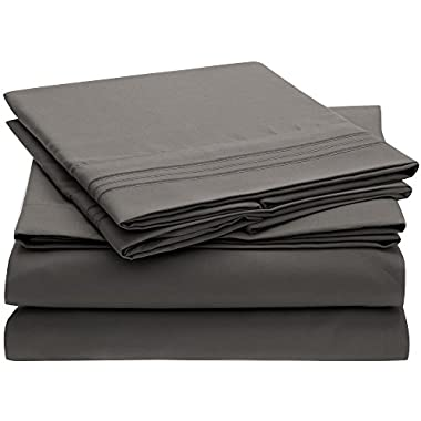 Ideal Linens Bed Sheet Set - 1800 Double Brushed Microfiber Bedding - 4 Piece (Queen, Gray)