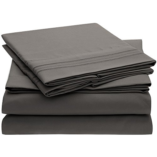 Ideal Linens Bed Sheet Set - 1800 Double Brushed Microfiber Bedding - 4 Piece (King, Gray)