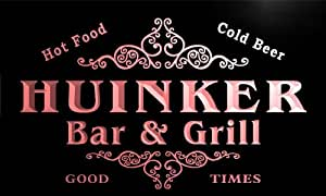 u21187-r HUINKER Family Name Bar & Grill Home Beer Food Neon Sign