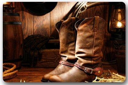 (American West Rodeo Cowboy Black Felt Hat Atop Worn Western Boots Vintage Style Rectangle Entryways Non Slip Doormat Floor Mat - 23.6