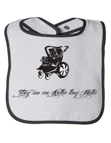 SEE ME ROLLIN', THEY HATIN' Baby Feeding Bib / Cute, Funny Baby Stroller Humor