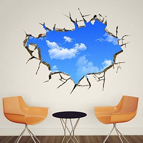 2017 Modern 3d Creative Broke Bule Sky Wall Stickers Mural Decal Quotes Art Home Decor Living Room - Home Decor -