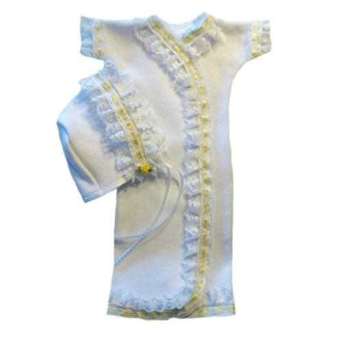 Jacqui's Baby Girls' White Gown Set with Yellow Lace Trim, Preemie