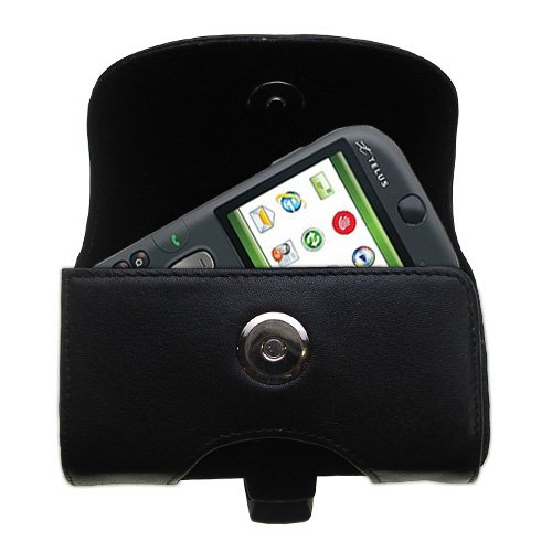 (Gomadic Brand Horizontal Black Leather Carrying Case for the HTC CDMA PDA Phone with Integrated Belt Loop and Optional Belt Clip)