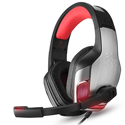 Gaming Headset for Xbox One PS4, TUSBIKO Noise Cancelling Over Ear Gaming Headphones with Microphone LED Lights, Bass Surround Soft Memory Earmuffs PC Headset