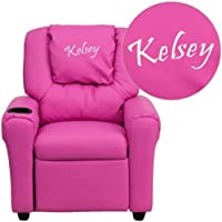 Flash Furniture Personalized Hot Pink Vinyl Kids Recliner with Cup Holder and Headrest