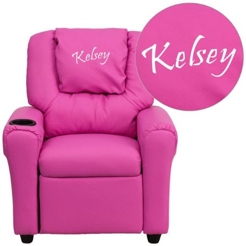 Flash Furniture Personalized Hot Pink Vinyl Kids Recliner with Cup Holder and Headrest DG-ULT-KID-HOT-PINK-EMB-GG