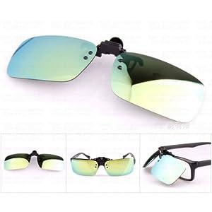 XENO-1X Polarized Clip On Flip Up Sunglasses Mirrored Clip for Myopia Glasses Driving(gold green mirrored)
