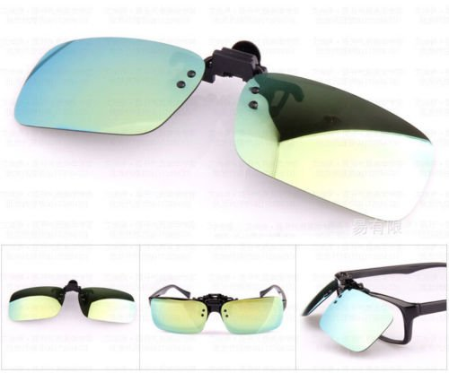 XENO-1X Polarized Clip On Flip Up Sunglasses Mirrored Clip for Myopia Glasses Driving(gold green - Spectacles Boss