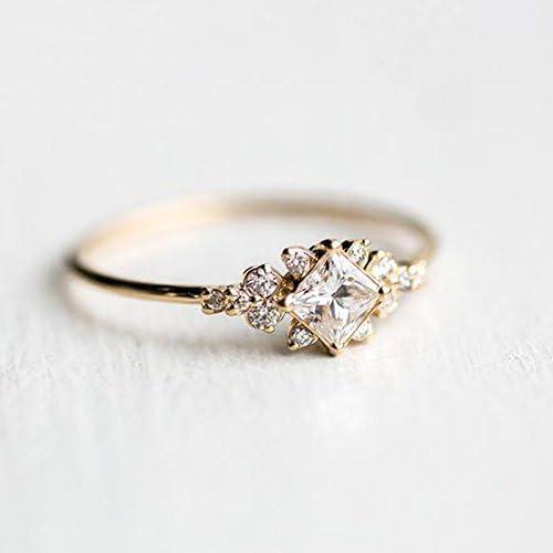 Women Fashion Ring Rose Gold Filled Emerald Cut White Sapphire Ring Gift Sz 6-10