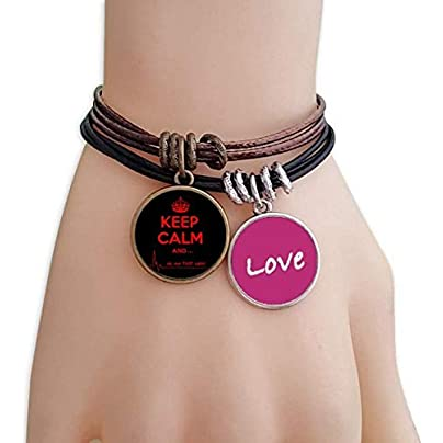 Metftus Quote Keep Calm Red Black Love Bracelet Leather Rope Wristband Couple Set Estimated Price -