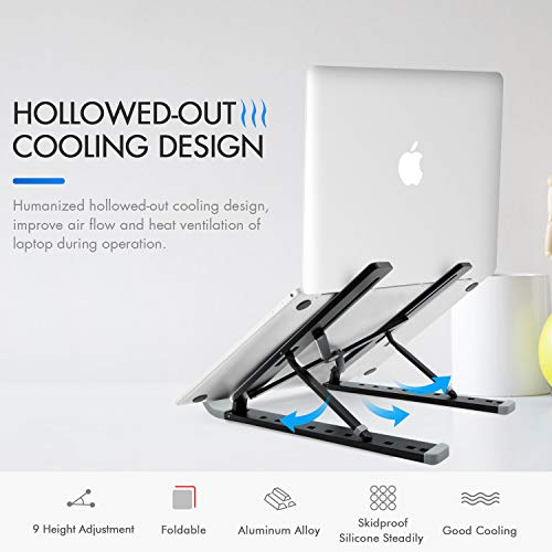 Portable Laptop Stand Foldable Adjustable Laptop Stand Holder Universal Ergonomic Aluminium Alloy Travel Mini Ventilated Notebook Stand for Macbook Notebook Computer PC iPad Tablet with Flannelette Bag