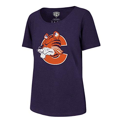 NCAA Clemson Tigers Adult Women NCAA Women's Ots Slub Scoop Distressed Tee, Medium, Purple