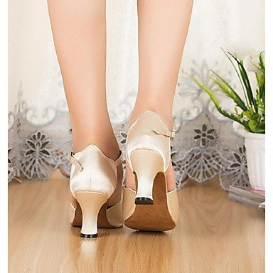 XIAMUO Nicht anpassbar - Die Frauen tanzen Schuhe Latin Cuban Heel Satin/Leder Beige, Beige, US5/EU 35/UK3/CN34