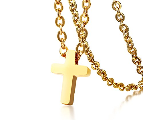 Stainless Steel Dainty Cross Necklace (Gold Plated) - 3