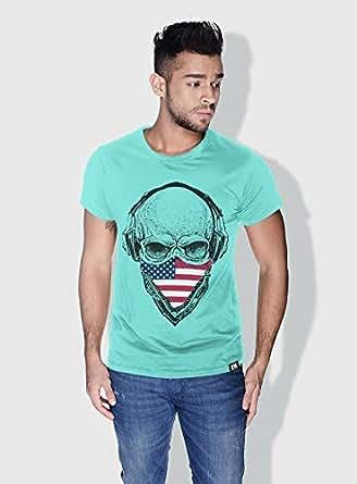 Creo Usa Skull T-Shirts For Men - M, Green