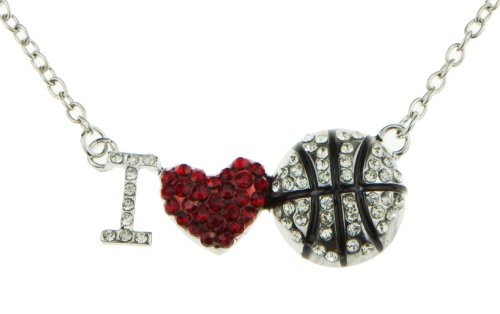 (Silver Red and White Crystal I heart love Basketball Pendant Fashion Sports Necklace Women Jewelry Gift)