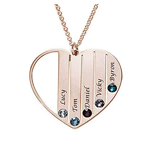 DXYAN Personalized Heart Family Name Necklace with 7 Birthstone&7 Names