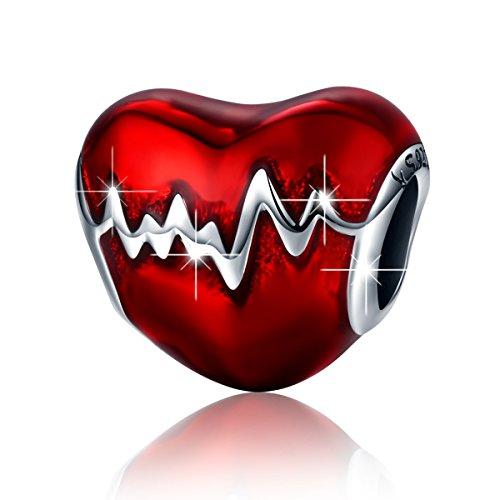 BAMOER 925 Sterling Silver Heartbeat Charm Bead Red Enamel Love Heart Charm Love In My Heart