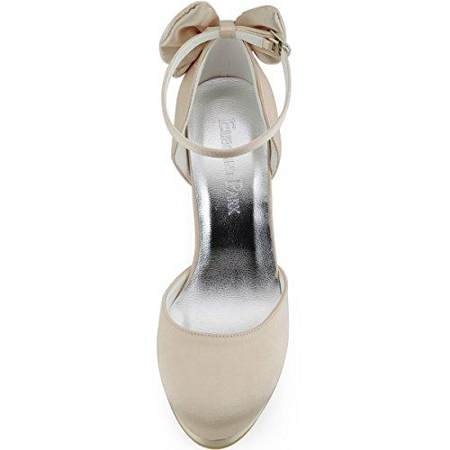 ElegantPark plateau Scarpe Beige donna da scarpe chiuse con PF tacco sposa AJ091 Champagne B0rqTwxB