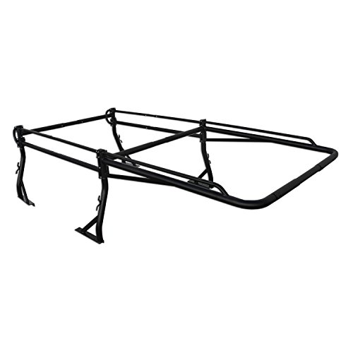 AA-Racks Model X38 Short Bed Truck Ladder Rack Side Bar with Long Over-cab Ext. -Matte -