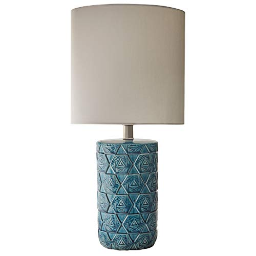 Beige Ceramic Table Lamp - Rivet Geometric Ceramic Living Room Table Desk Lamp With LED Light Bulb - 11 x 22.75 Inches, Ocean Blue