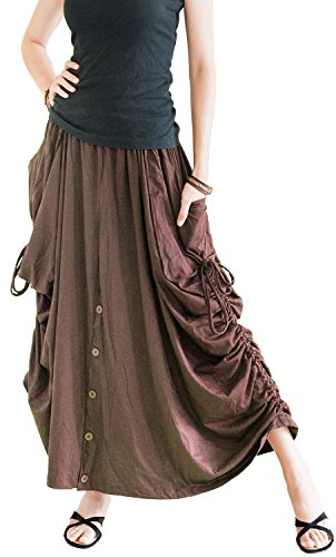 BohoHill Convertible Maxi Skirt Pants Cotton Jersey Versatile Skirt (Brown)