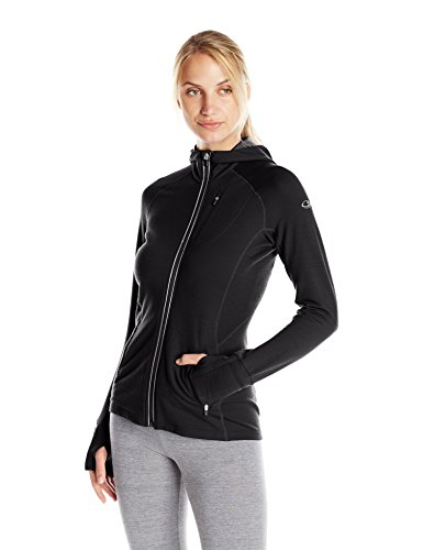 Icebreaker Women's Quantum Long Sleeve Zip Hood, Black, X-Small