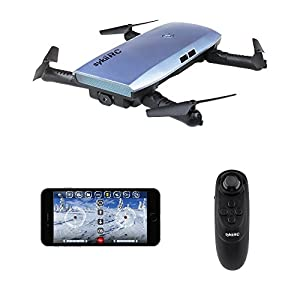 sykii RC Drone Quadcopter, H47 Fold Portable WIFI FPV Drone with 720P HD 0.3MP Camera Live Video 6-Axis Gyro Mini Selfie Drones WiFi App & Remote Control RTF Helicopter – Blue