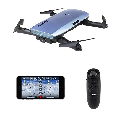 sykii RC Drone Quadcopter, H47 Fold Portable WIFI FPV Drone with 720P HD 0.3MP Camera Live Video 6-Axis Gyro Mini Selfie Drones WiFi App & Remote Control RTF Helicopter - Blue
