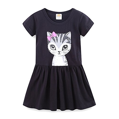 Mud Kingdom Little Girls Dresses Summer Clothes Cat Face Size 6 Black