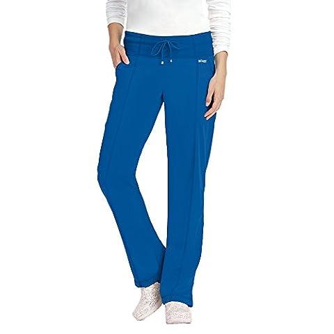 Grey's Anatomy Active Women's 4276 Yoga Knit Waist Scrub Pant- Royal Blue- Large Petite