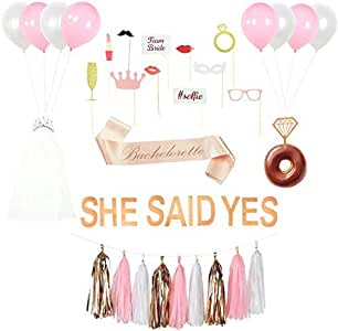 Bachelorette Party Decorations Kit, Rose Gold Pink Bridal Shower Supplies, She Said Yes Banner, Bride Sash, Tiara with Veil, Diamond Donut/Cake Toppers, bachelorette photo booth props, Hen party set