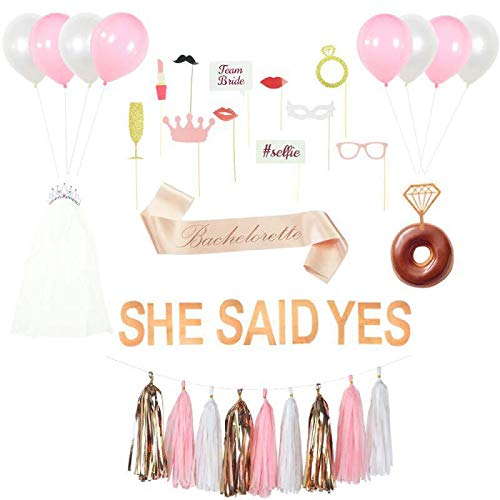 Bachelorette Party Decorations Kit, Rose Gold Pink Bridal Shower Supplies, She Said Yes Banner, Bride Sash, Tiara with Veil, Diamond Donut/Cake Toppers, bachelorette photo booth props, Hen party set ()