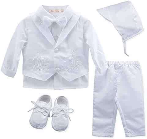 58064f0fc6a65 Baby Boy s 5 Pcs Set White Christening Baptism Outfits Cross Applique  Embroidery Vest Long Sleeves Suit