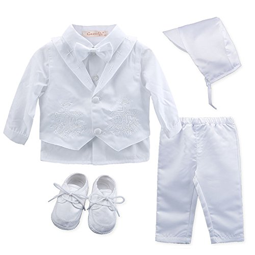 Booulfi Baby Boy's 5 Pcs Set Christening Baptism Outfits 3-6 Months Pure White