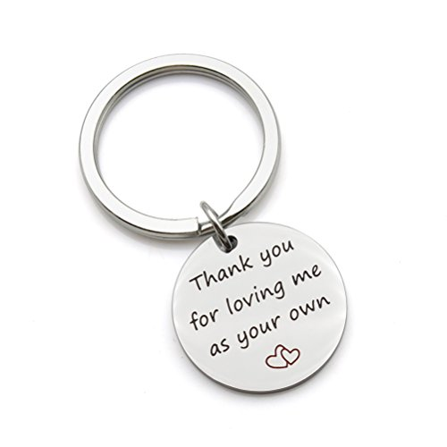 Thank you for loving me as your own mother father Gift step mom dad Gift wedding Stainless Steel Keychain Key Ring (Thank You Wedding Keychains)