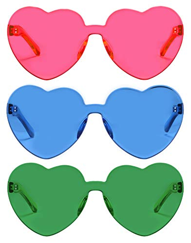 One Piece Heart Shaped Rimless Sunglasses Transparent Candy Color Eyewear(3 - Eye Accessories