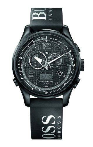 Hugo Boss 1512832 Men's Watch Chronograph Black Dial Silicon Logo Strap Black