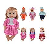 CZC GIFT 6PCS Fits 12'' 13'' 14'' Bitty Baby Alive Doll Clothes 360°Sewing Doll Dress