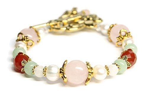 (Juno Fertility and Pregnancy Bracelet in Gold tone featuring Gemstones Rose Quartz, Moonstone, Green Aventurine, Carnelian, Freshwater Pearls.)