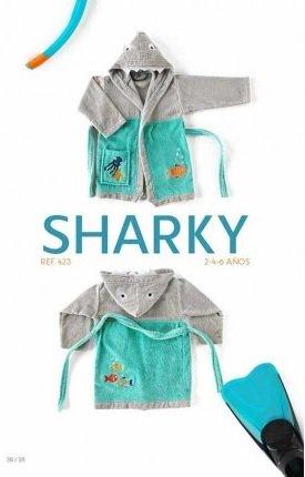 Albornoz bordado con capucha modelo Sharky, Talla 4 años: Amazon.es: Ropa y accesorios