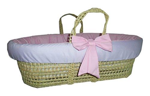 Baby Doll Bedding Reversible Moses Basket Bedding Set, Pink/Lavender