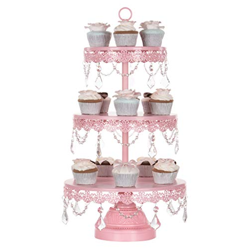 Amalfi Décor 3 Tier Dessert Cupcake Stand, Chic Glass Crystal Draped Metal Display Tower for Weddings Events Birthdays Party Plate Pedestal, Sophia Collection (Pink) by Amalfi Décor (Image #1)