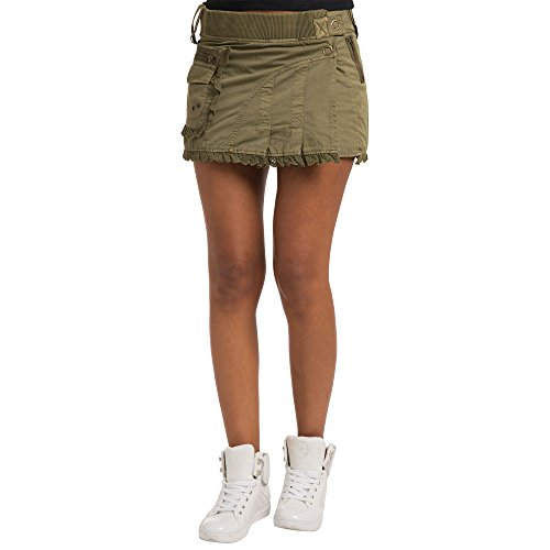 Sweet Vibes Junior Women Olive Stretch Twill Military Style Skirts Rib Waistband Lace Trim