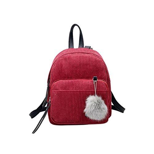 Yuan Women Corduroy Backpack,Solid Color Pompom Ball Pendant Travel Female Satchel Mini Rucksack Simple Retro Bag School Bag Wind Red