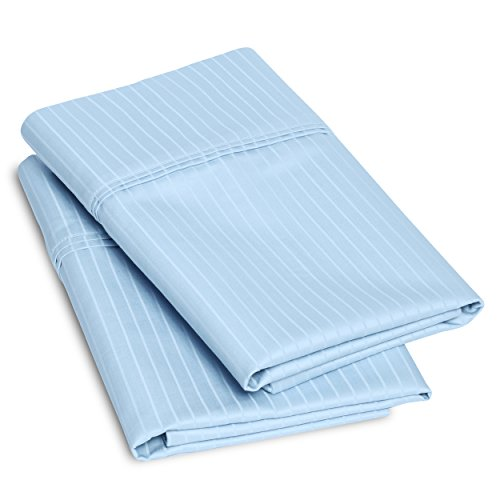 [100% Egyptian Cotton 1000 Thread Count Oversized Standard Pillowcase Set Stripe, Light Blue] (Check 1000 Thread)