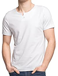 Bamboo Men's Casual Crew Neck Button Tee Short Sleeves T-Shirts