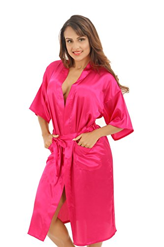 SexyTown Women's Long Kimono Robe Satin Nightwear with Pockets Large A-Rose Red]()